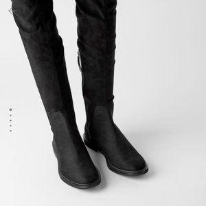 Zara Flat Vegan Suede Stretch Shaft Flat Boots
